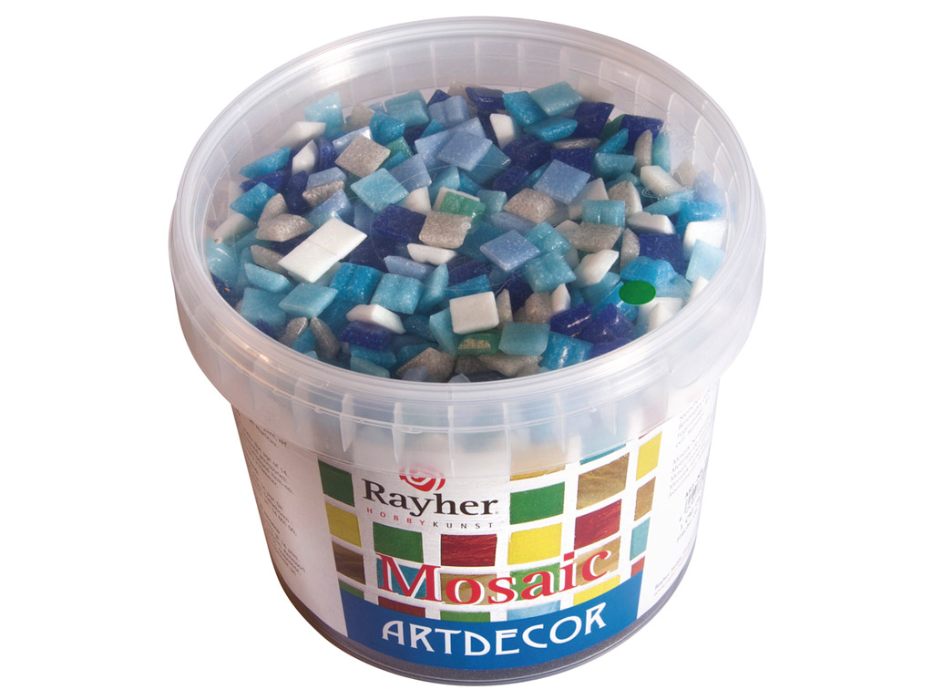 Mozaikos akmenys Rayher ArtDecor 1x1cm ~1300vnt./1kg mėlyni tonai