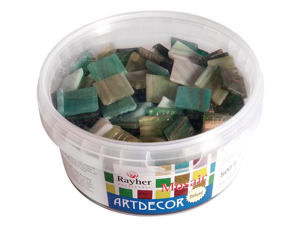 Mozaīkas akmeņi Rayher ArtDecor Deluxe 2x2cm ~160gab./500g zaļie toņi