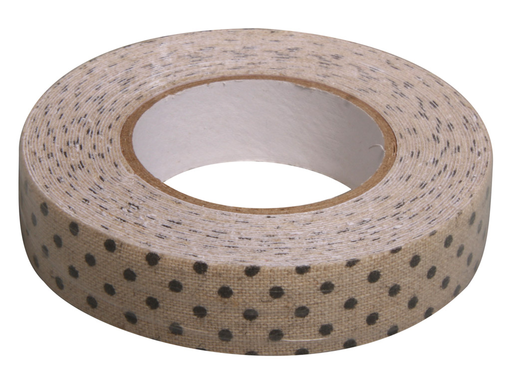 Fabric tape Rayher 15mmx2.5m linen black dots