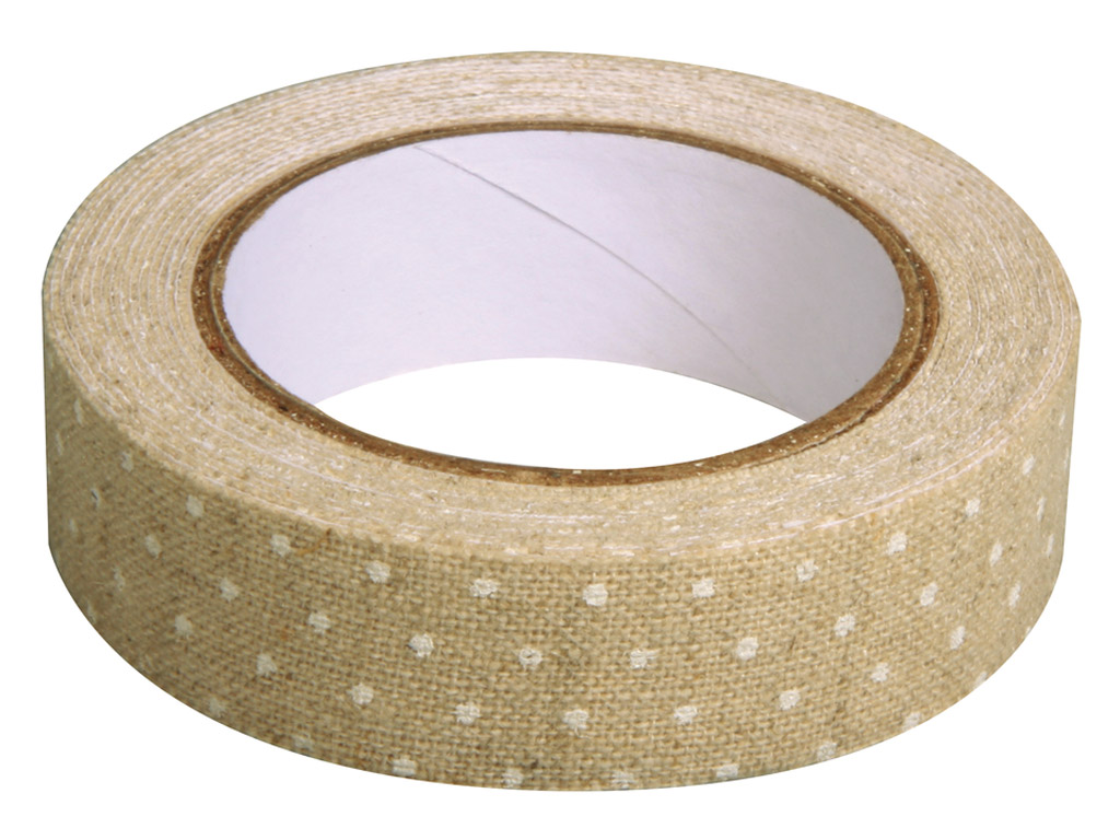 Fabric tape Rayher 15mmx2.5m linen white dots