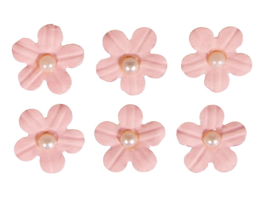 Kaunistus paberist Rayher lilleõied liimuv poolpärliga 20tk heleroosa