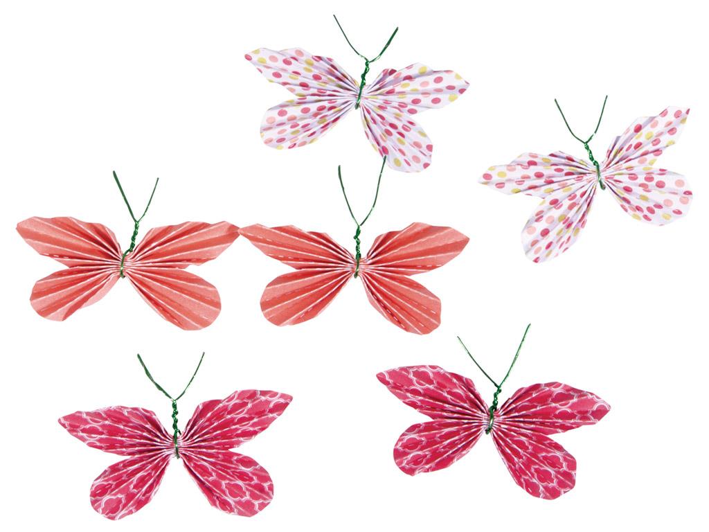 Kaunistus paberist Rayher liblikas liimuv 5x3cm 6tk punased toonid