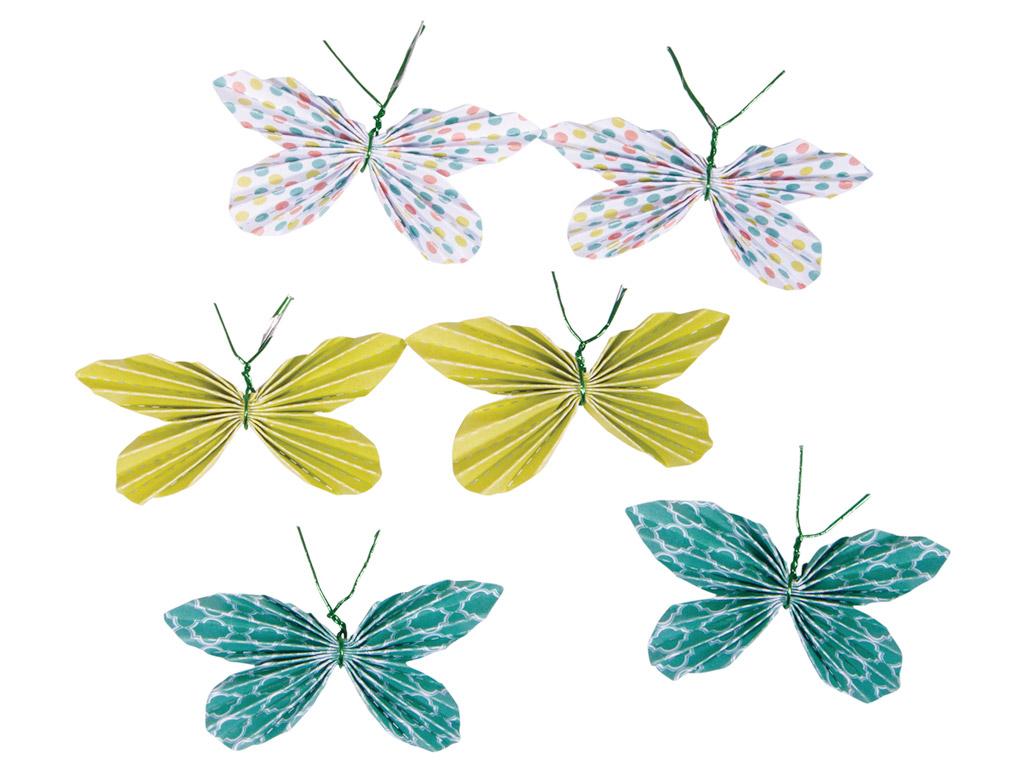 Kaunistus paberist Rayher liblikas liimuv 5x3cm 6tk rohelised toonid