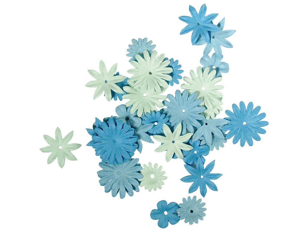Kaunistus paberist Rayher lilleõied 1.5-2.5cm 36tk sinised toonid