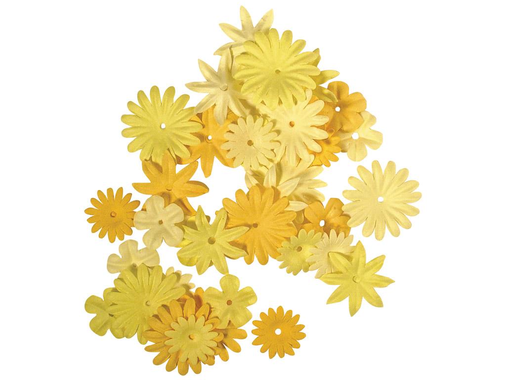 Kaunistus paberist Rayher lilleõied 1.5-2.5cm 36tk kollased toonid