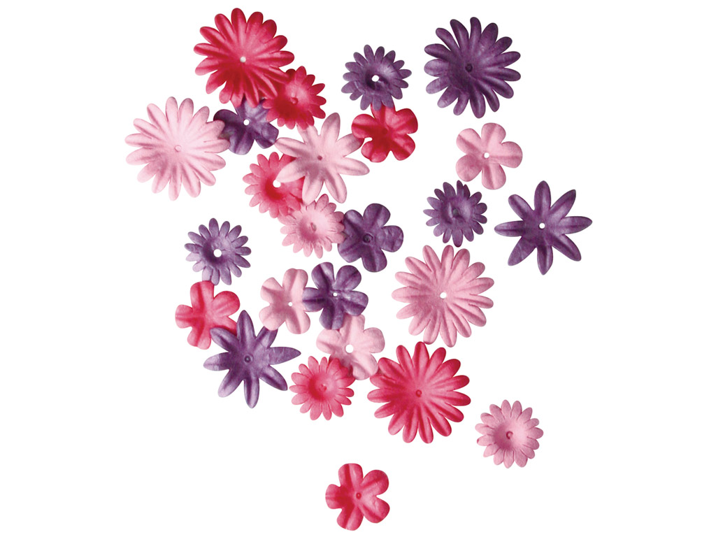 Kaunistus paberist Rayher lilleõied 1.5-2.5cm 36tk roosad toonid
