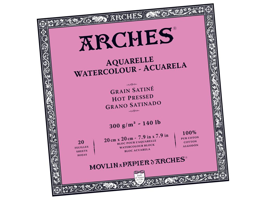 Akvarellplokk Arches 20x20cm/300g 20 lehte liimitud küljed sile