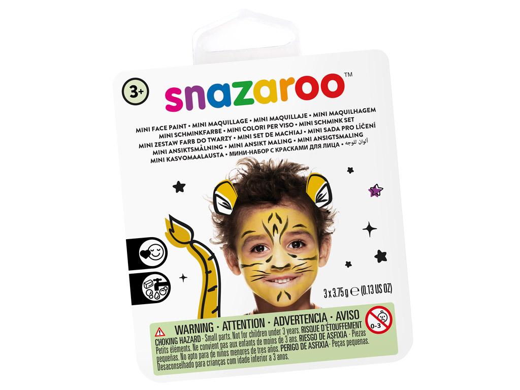 Näovärvide komplekt Snazaroo Mini 3 värvi+pintsel+svamm Tiger