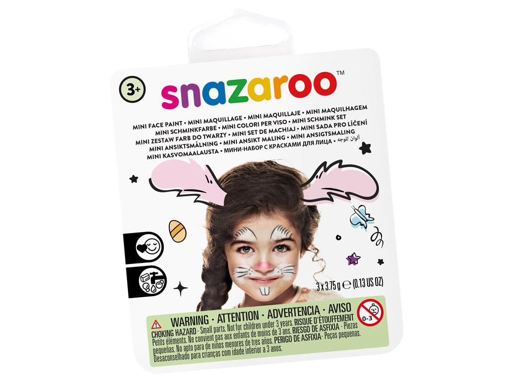 Näovärvide komplekt Snazaroo Mini 3 värvi+pintsel+svamm Bunny