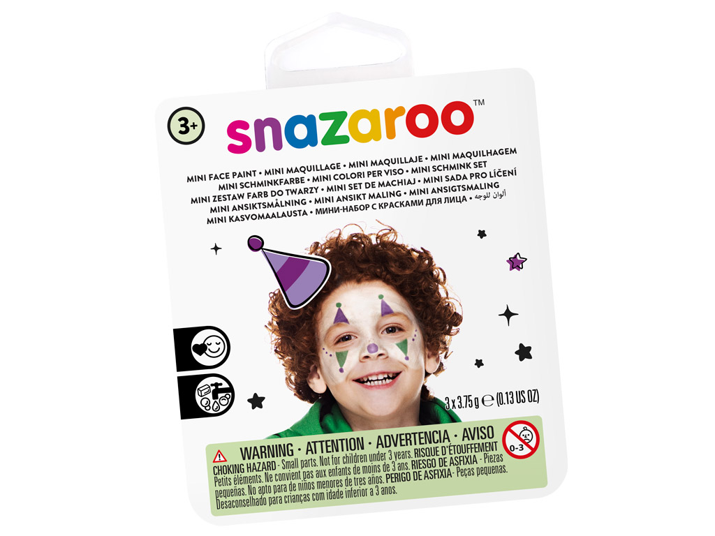 Näovärvide komplekt Snazaroo Mini 3 värvi+pintsel+svamm Jester