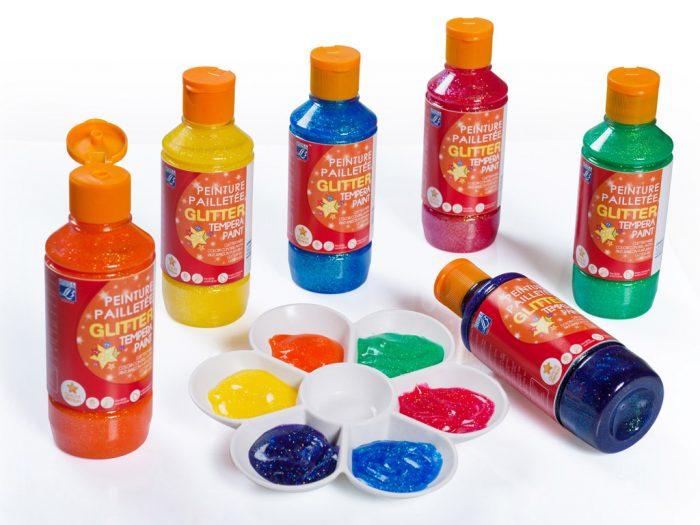 Guaša krāsa ar glitteriem L&B Education 250ml