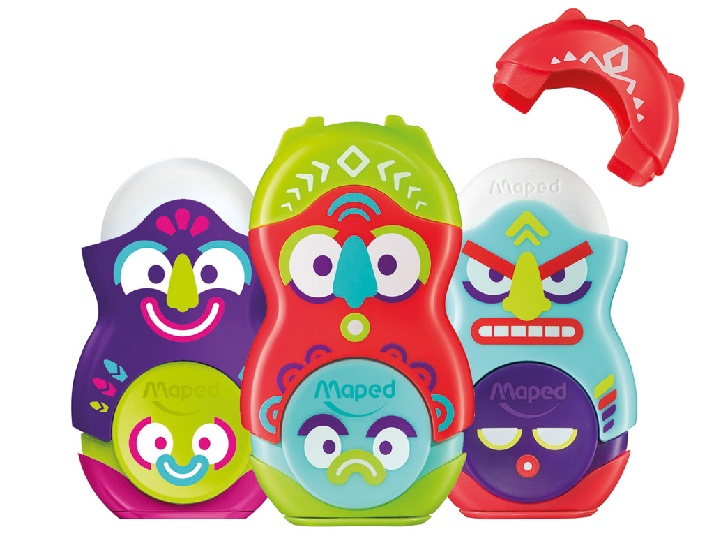 Pencil sharpener-eraser Maped Loopy Totem 1 hole assorted