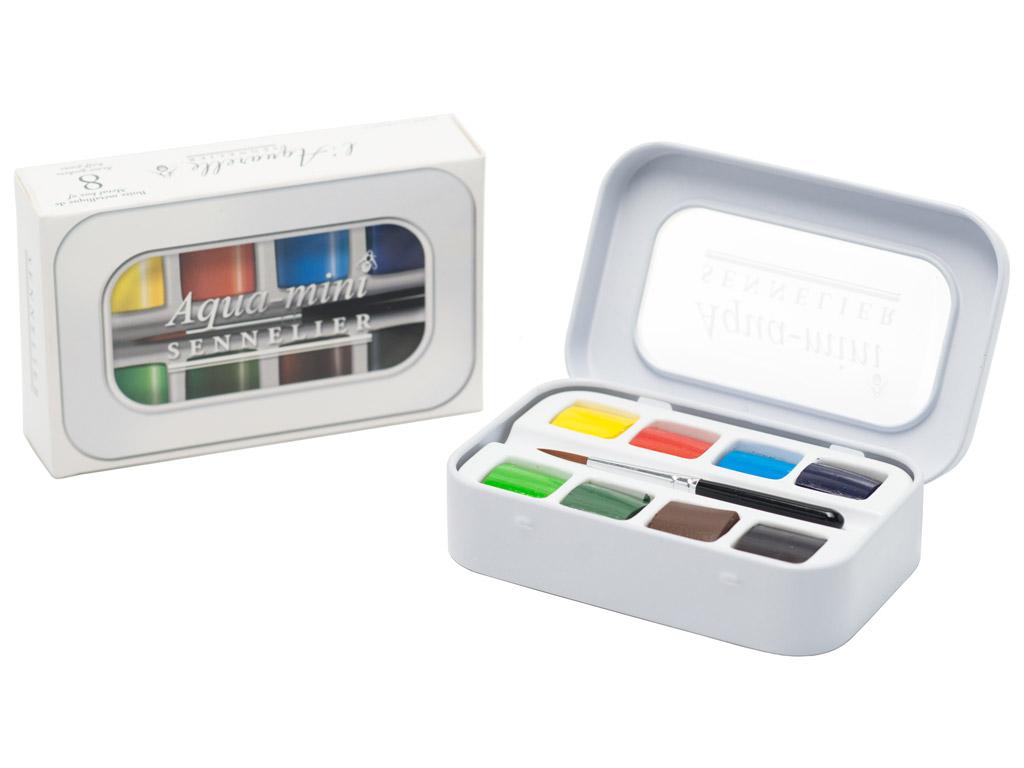 Akvareliniai dažai Sennelier Aqua-mini 8x1/2 kubelių+mini teptukas metalinė dėžutė