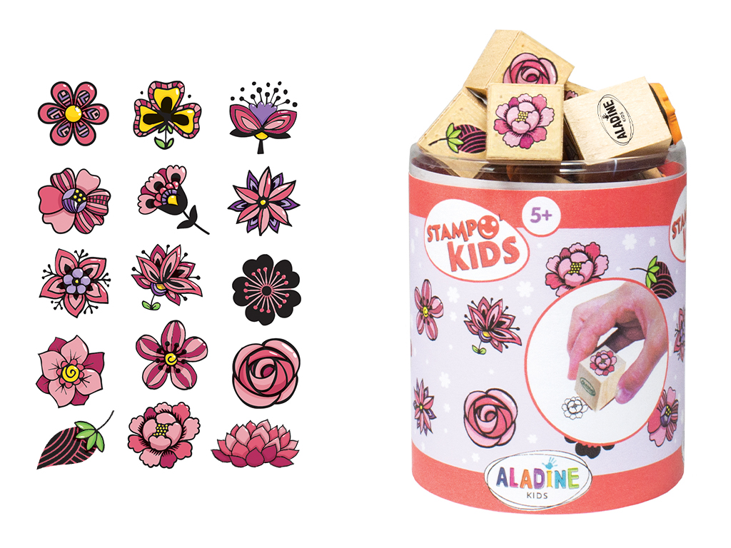 Stamp Aladine Stampo Kids 15pcs Flowers + ink pad black