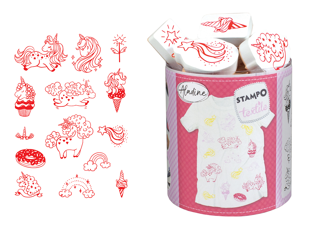 Tempel Aladine Stampo Textile 14tk Magical Unicorn + templipadi must