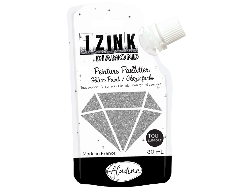 Glitter paint Aladine Izink Diamond 80ml silver