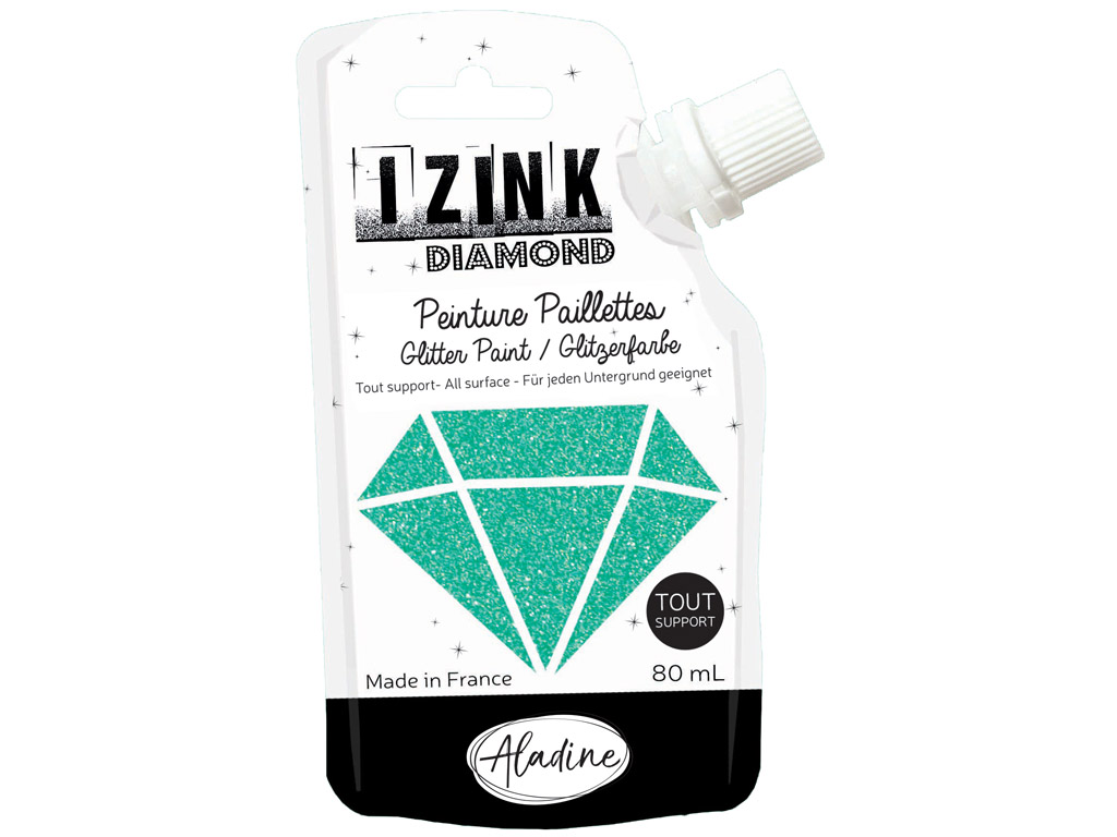 Glitter paint Aladine Izink Diamond 80ml turquoise
