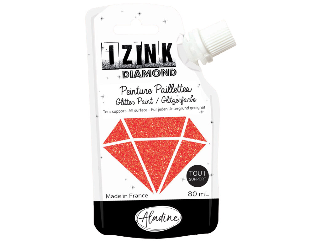 Glitter paint Aladine Izink Diamond 80ml red