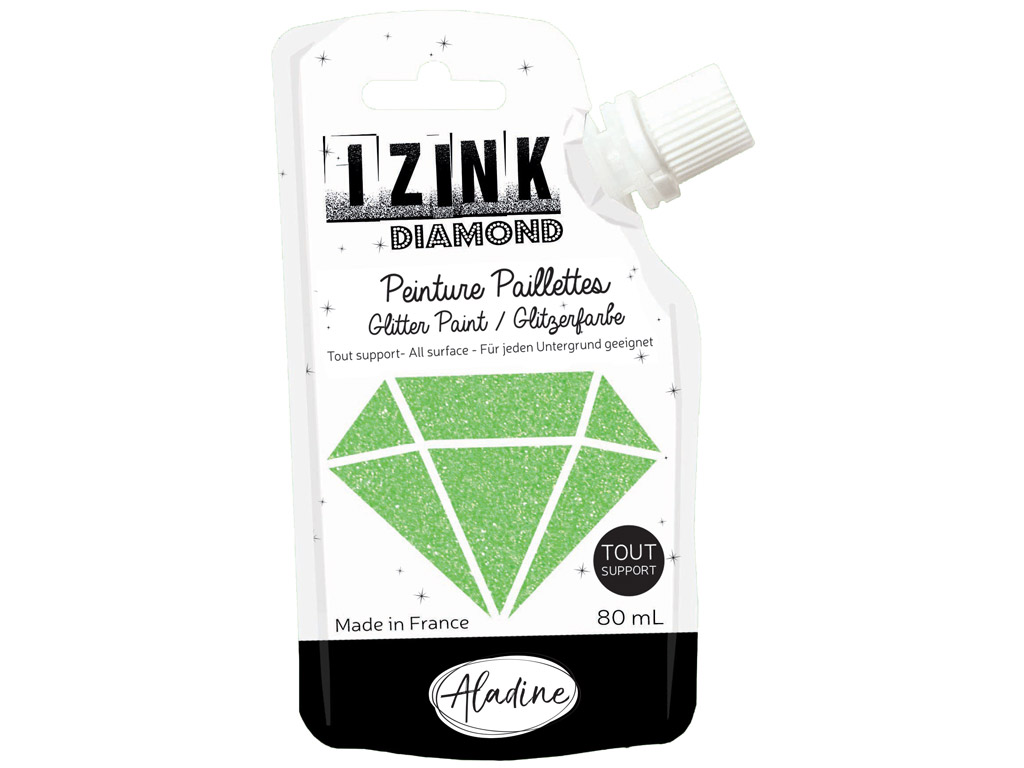 Glitter paint Aladine Izink Diamond 80ml light green