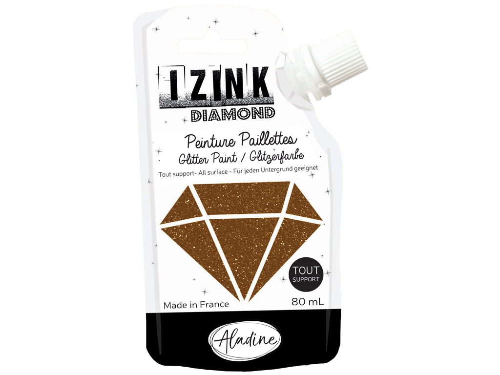 Glitter paint Aladine Izink Diamond 80ml brown