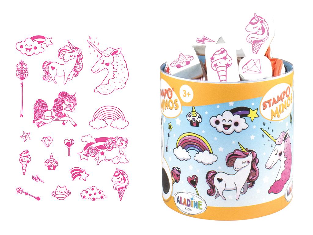 Zīmogs Aladine Stampo Minos 18gab. Unicorn + zīmoga spilventiņš melna