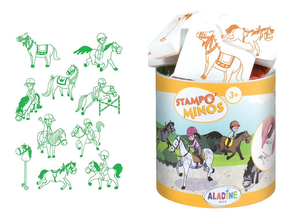 Zīmogs Aladine Stampo Minos 10gab. Horses + zīmoga spilventiņš melna