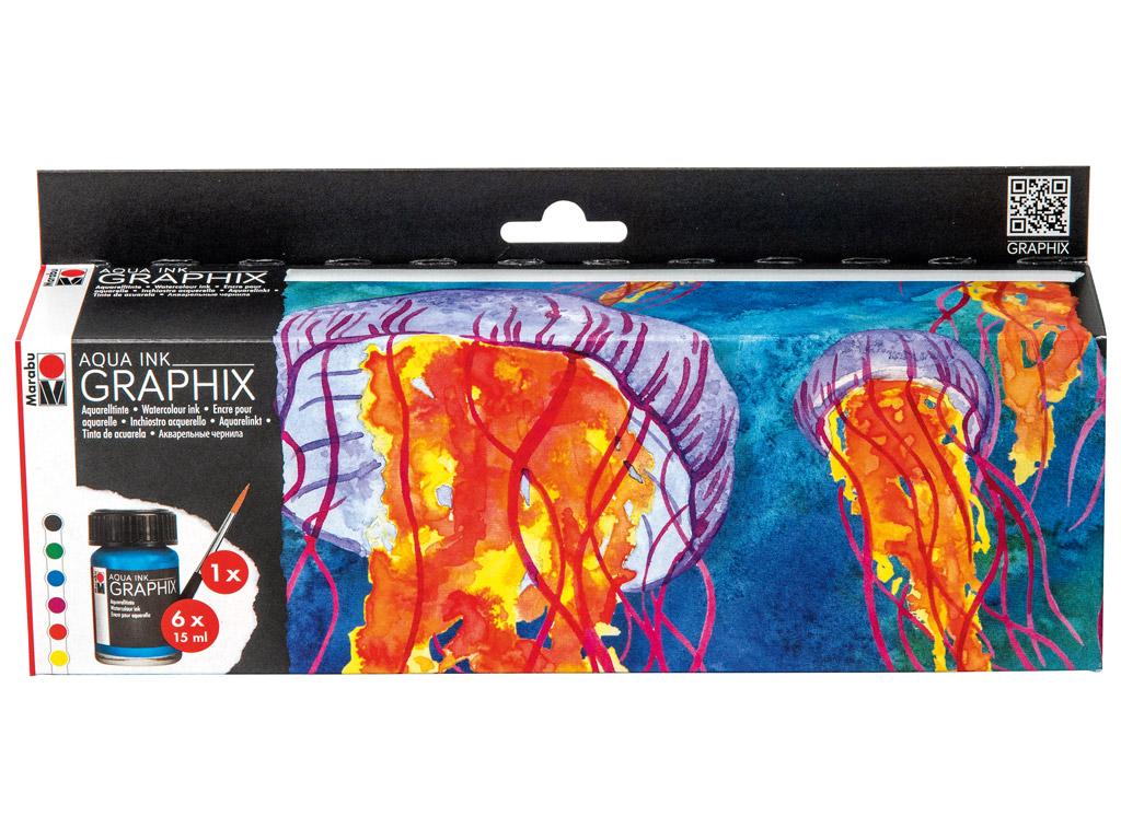Akvareļu tinte Graphix 6x15ml+ota