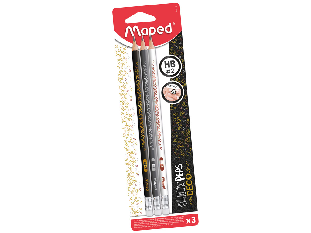 Graphite pencil BlackPeps Deco HB with eraser 3pcs blister