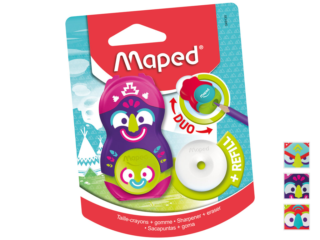 Pencil sharpener-eraser Maped Loopy Totem 1 hole assorted blister