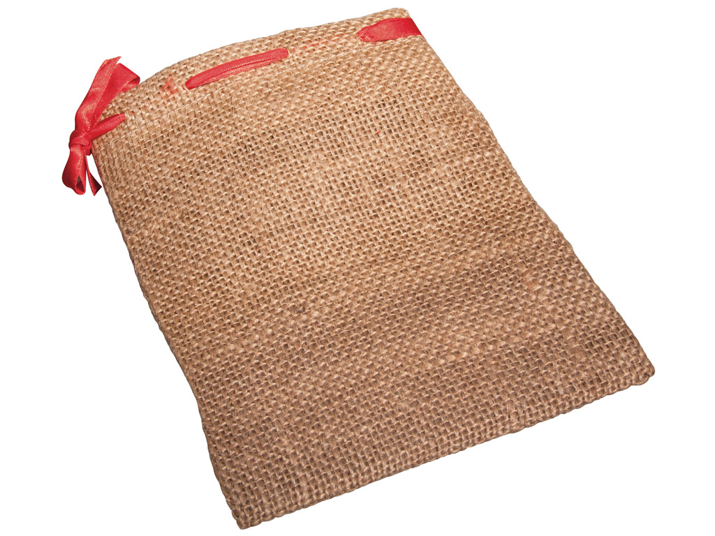 Jute bag Rayher with red cord 14x18cm 2pcs