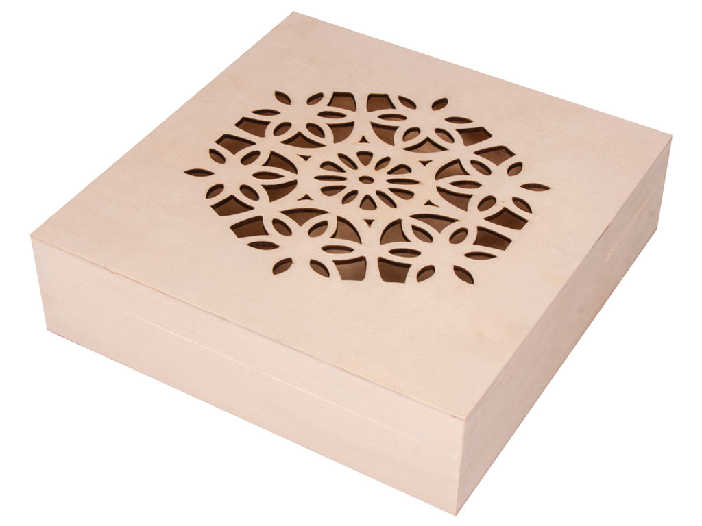 Wooden box Rayher with decorative lid 14.5x14.5x4cm with hinges