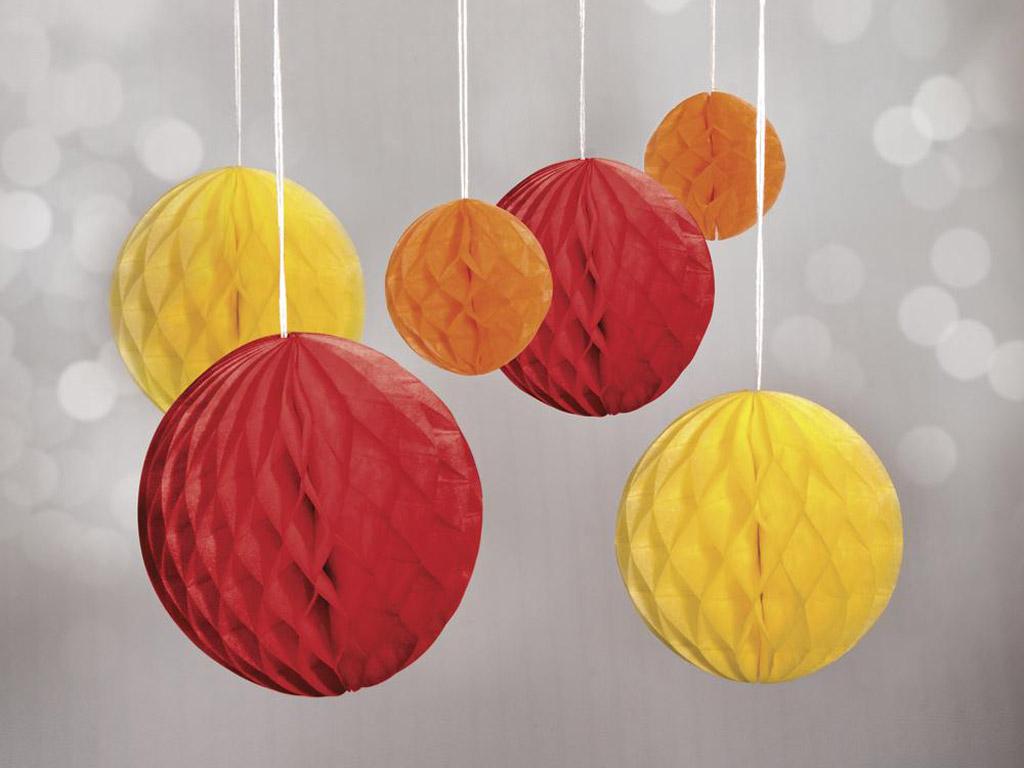 Dekoratīvā bumba no šūnu papīra Rayher pakarināms 5-10cm 6gab. sarkana/dzeltena/oranža