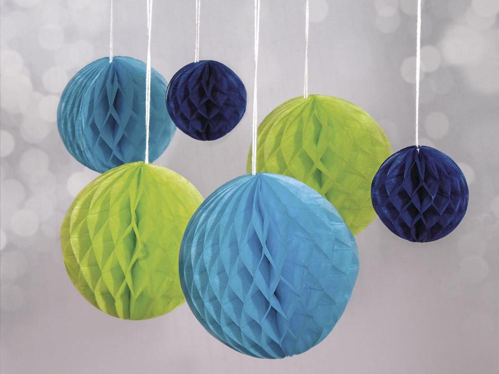 Dekoratīvā bumba no šūnu papīra Rayher pakarināms 5-10cm 6gab. gaiši zaļa/gaiši zila/tumši zila