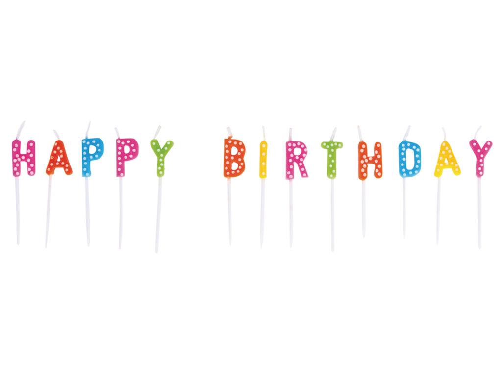 Kūku svece Rayher Happy Birthday 1.5x7.7cm 13 burti krāsains
