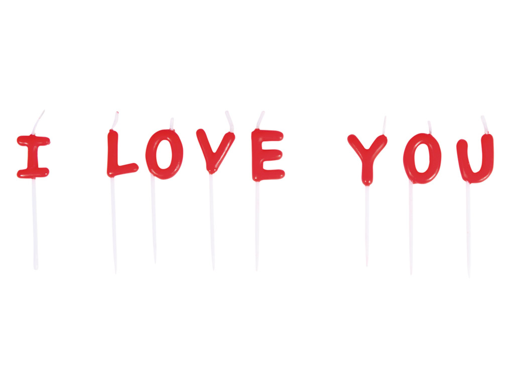 Candle on stick Rayher I Love You 2x7.7cm 8 letters red