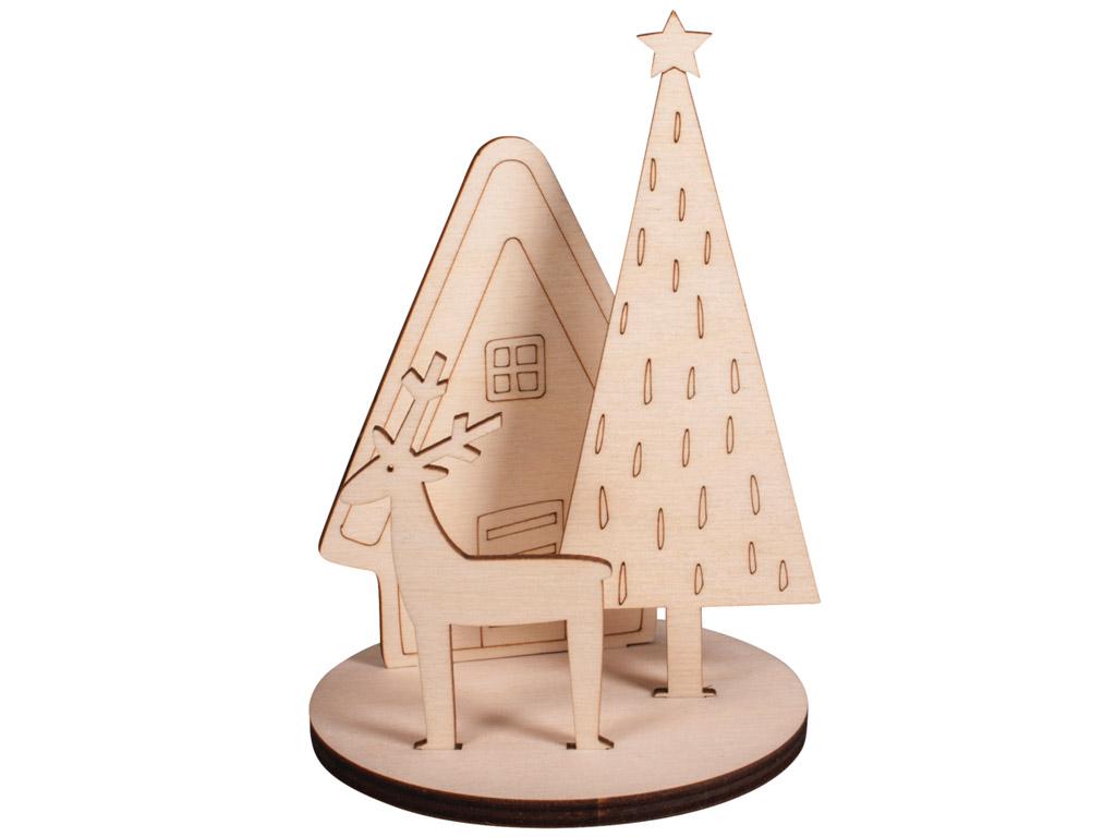 3D wooden figure Rayher Winterhome 10x10x14.5cm 4 pieces
