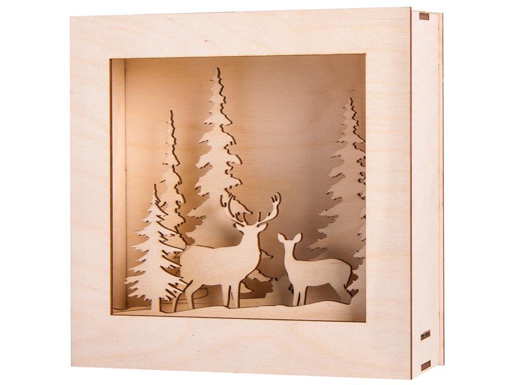 3D wooden figure-lightbox Rayher Winterland 20x20x6.6cm 14 pieces