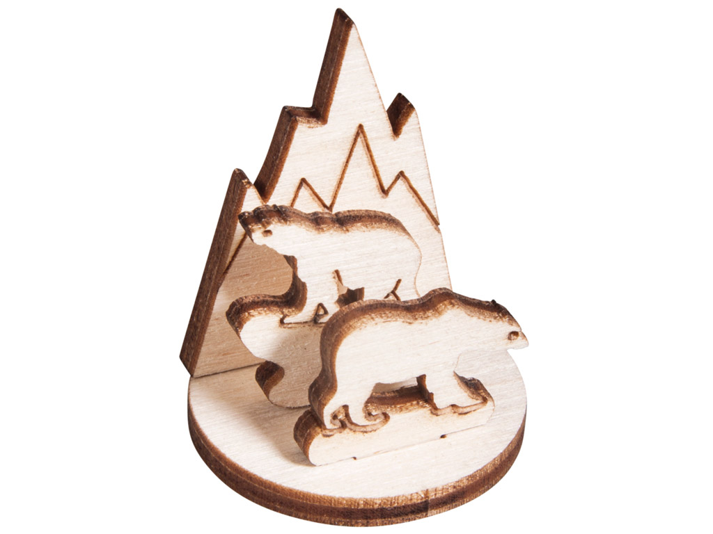 3D wooden figure Rayher polarbears 3.2x4cm 4 pieces
