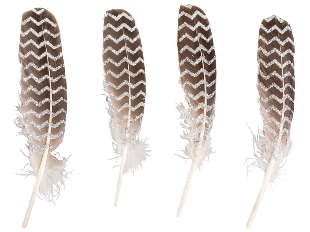 Decorative feathers Rayher with glitter printing 17-19cm 4pcs silver