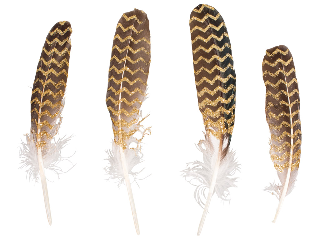 Decorative feathers Rayher with glitter printing 17-19cm 4pcs gold