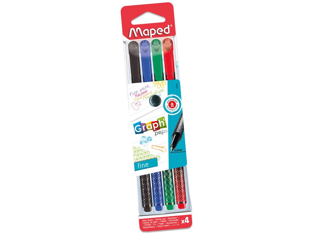 Tintes pildspalva fineliner Maped GraphPeps 0.4 4gab. blisterī
