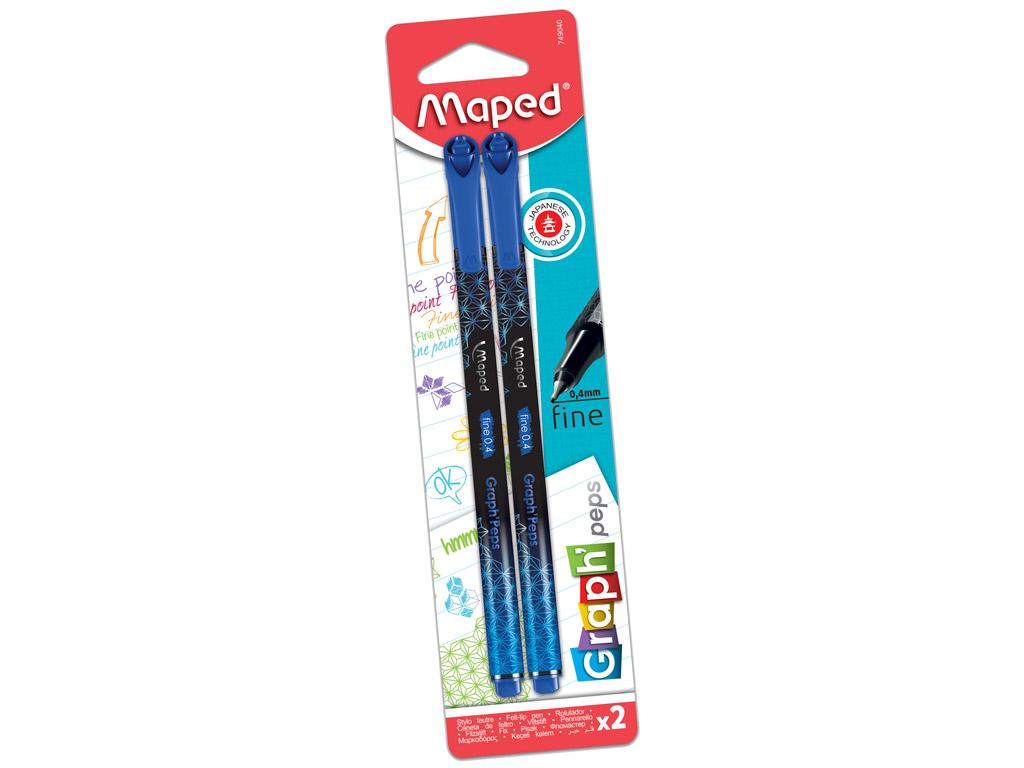 Tintes pildspalva fineliner Maped GraphPeps Deco 0.4 marina blue 2vnt. blisterī