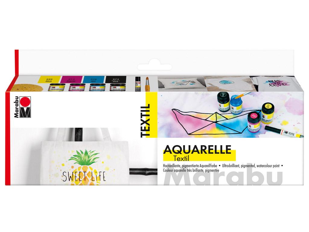 Tekstilės dažai Aquarelle 4x15ml+teptukas+kempinėlė+tekstilės žymeklis