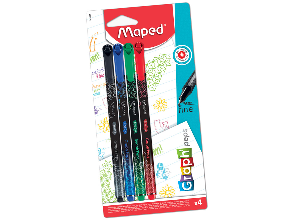 Tintpliiats fineliner Maped GraphPeps Deco 0.4 4tk blistril
