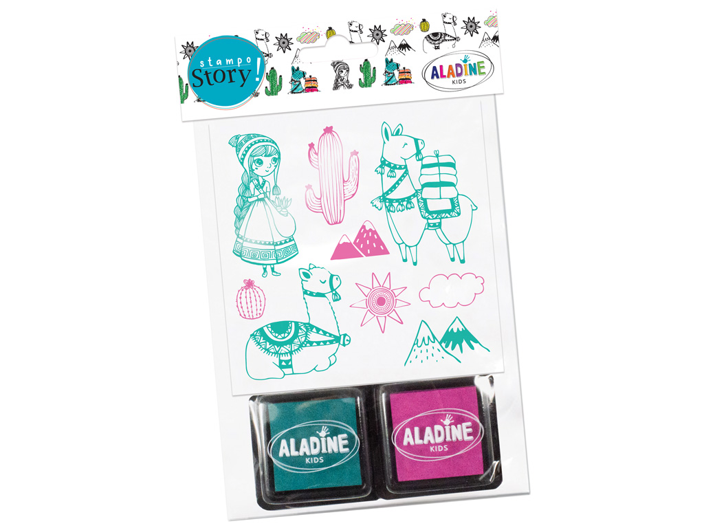Stamp Aladine Stampo Story 9pcs Lama + 2 ink pads blister