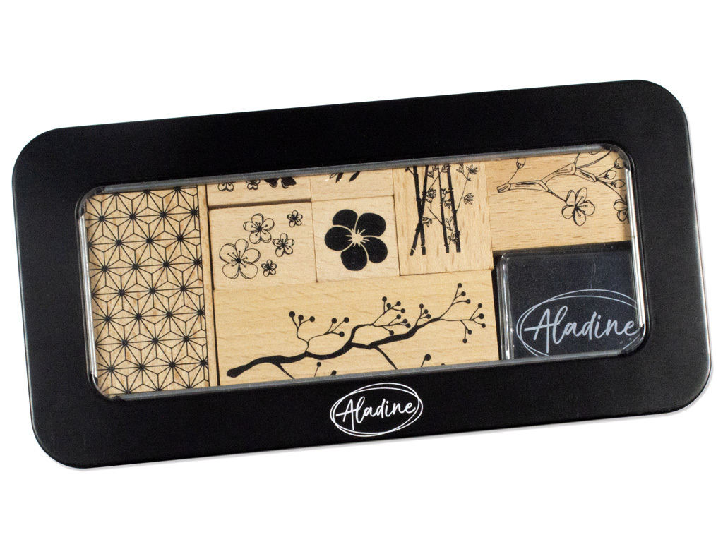 Wooden stamp Aladine 8pcs Flowers + ink pad black metal box