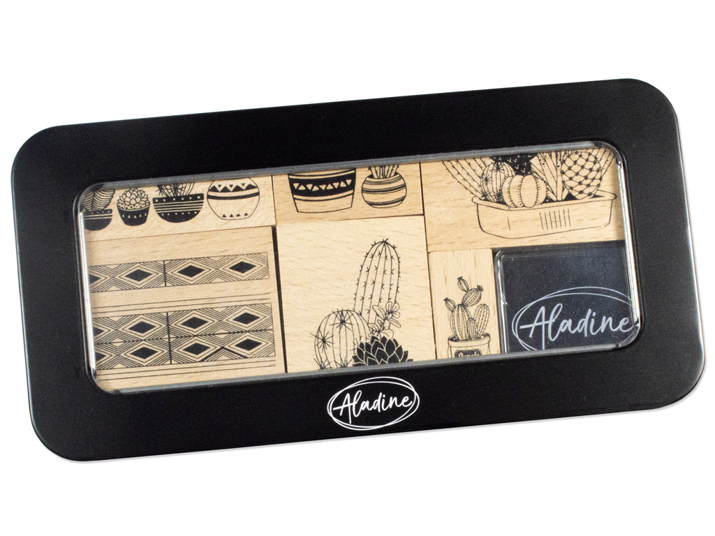 Wooden stamp Aladine 8pcs Cactuses + ink pad black metal box