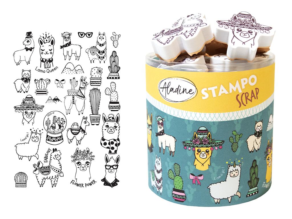 Zīmogs Aladine Stampo Scrap 25gab. Lamas + zīmoga spilventiņš melna