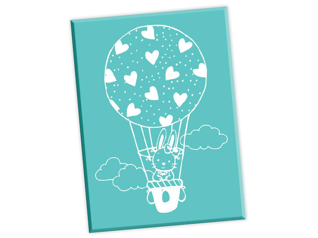 Medinis antspaudas Aladine karšto oro balionas su triušiu 5.2x7cm