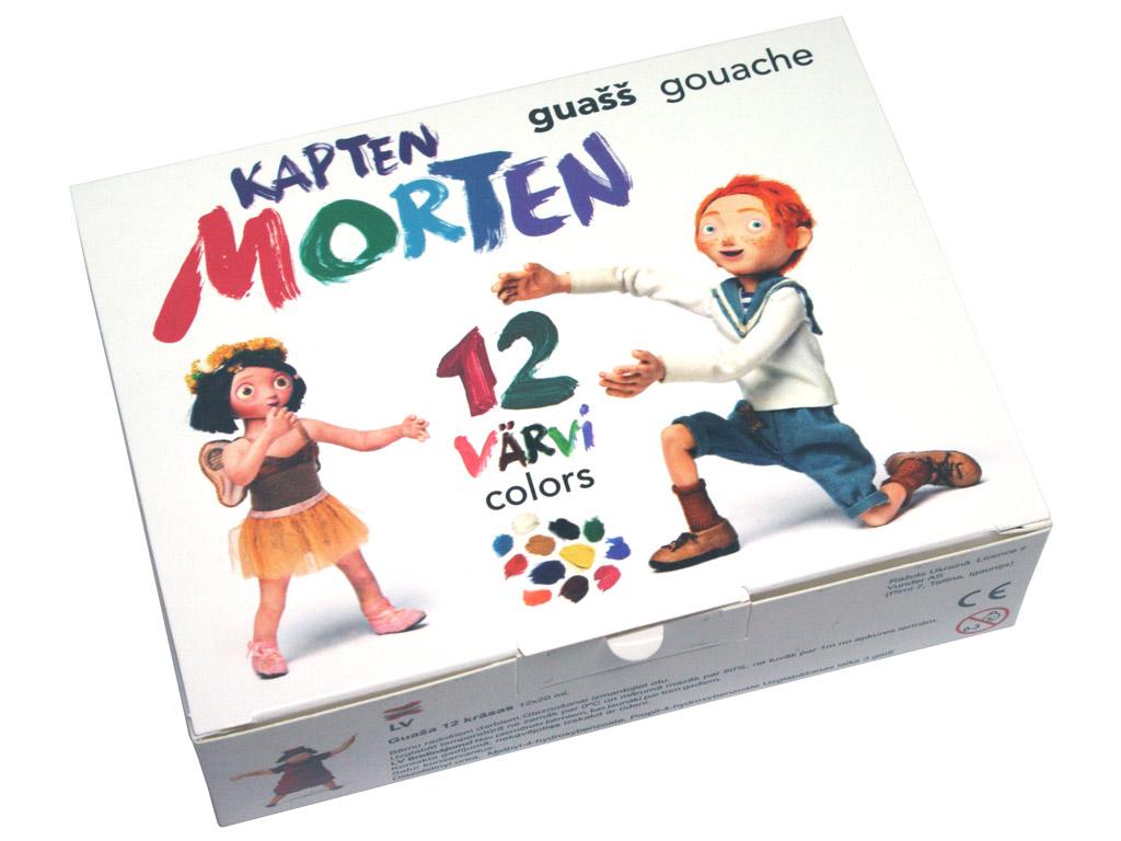 Guaša krāsa Kapten Morten 12x20ml